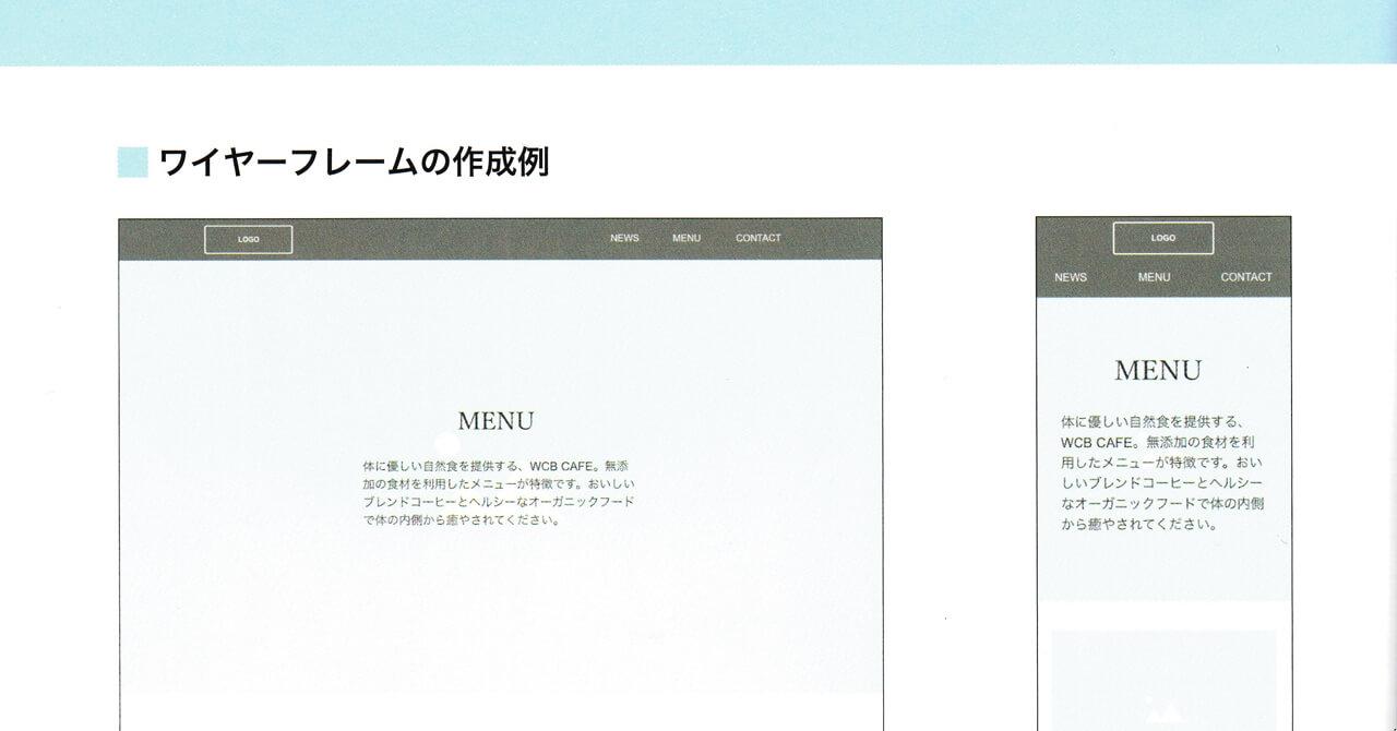 書籍「1冊ですべて身につくHTML & CSSとWebデザイン入門講座」から「ワイヤーフレームの作成例」を一部抜粋